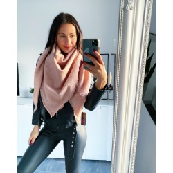Růžový melírovaný maxi šátek čtverec