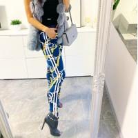 Modré vyteplené kalhoty oriental vel S a M