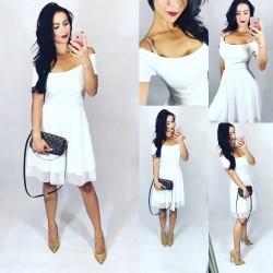 084cc3fe465c Bílé letní šaty s tylovou sukní