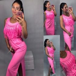 Neon růžové šaty s třásněmi a páskem