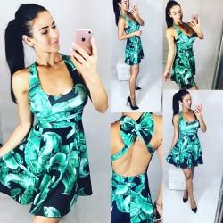 Černo zelené šaty s mašlí vzadu DEER
