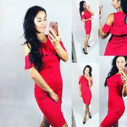 Rudé šaty s volánem vel S a M