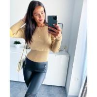 Krémový lurexový svetr velikost M