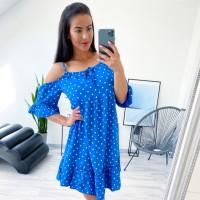 Modré šaty puntík