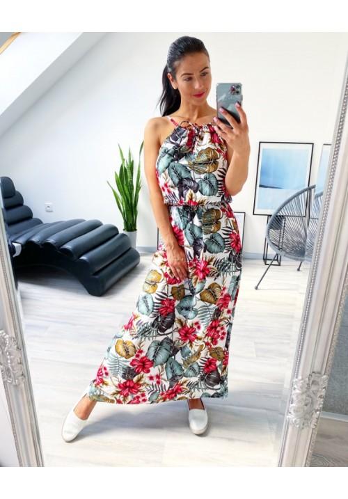 Bílé tropické maxi  šaty vel S a M