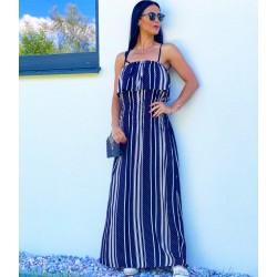 Tmavě modré maxi šaty s pruhy vel S