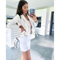 Riflová bílá sukně s trháním vel L