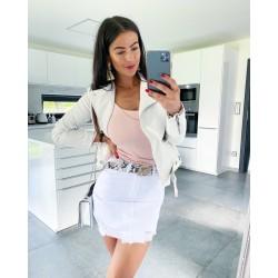 Riflová bílá sukně s trháním vel XS