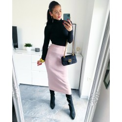 Růžová teplá dlouhá sukně
