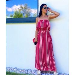 Červené maxi šaty s pruhy vel S