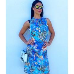 Pestré modré šaty Glori