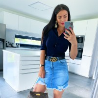 Modrá trhaná sukně vel XL
