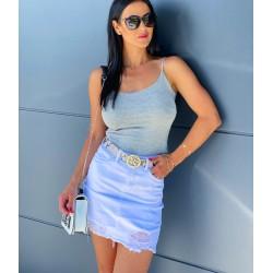 Riflová bílá sukně s trháním vel M