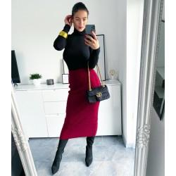 Vínová teplá dlouhá sukně