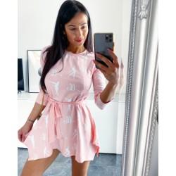 Růžové tuniko-šaty s páskem Loca