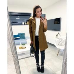 Hnědý elegantní kabát S/M