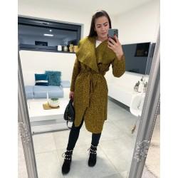 Hořčicovo-černý luxusní kabátek