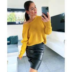 Hořčicový luxusní svetr Daza