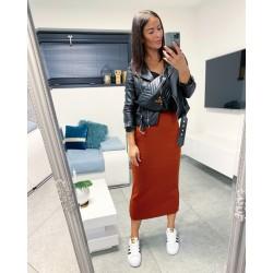 Cihlová dlouhá sukně