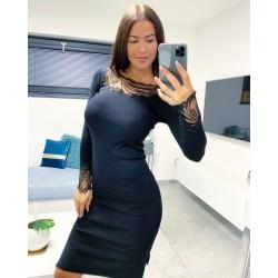 Černé luxusní šaty Flora