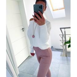 Bílý luxusní  svetr Daza
