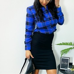 Modro-černá košile kostka vel S