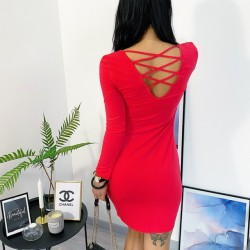 Červeně korálové basic šaty S/M