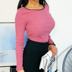 Růžové basic triko S/M