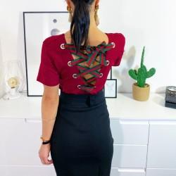 Vínové basic triko šněrování na zádech vel M a L