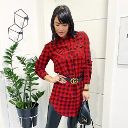 Delší košile/šaty velikost S a M model červeno-černá kostka