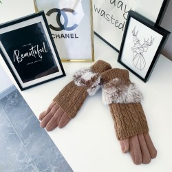Krémové teplé rukavice