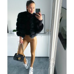 Sexy koženkové kalhoty v néžové barvě vel S