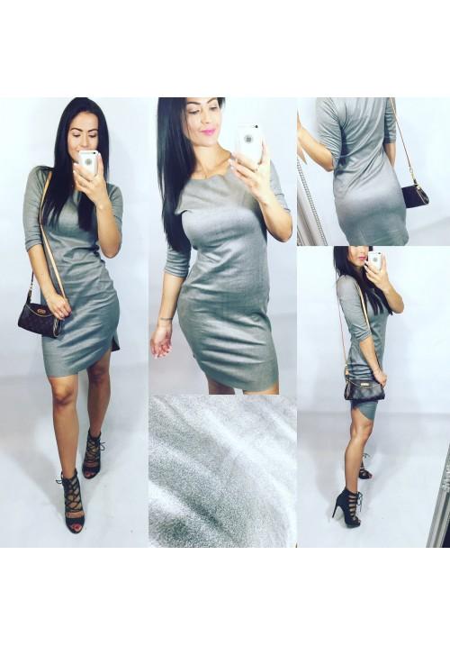 Šedé krásné šaty z broušené kůže vel M