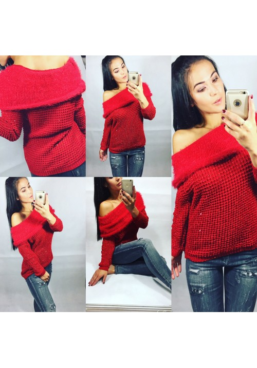 Rudý svetr na jedno rameno GLITTER