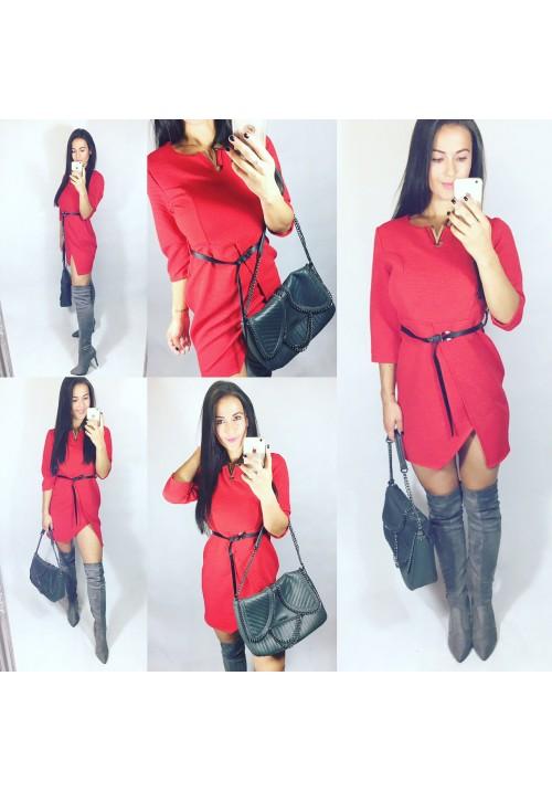 Rudé šaty ELA s páskem