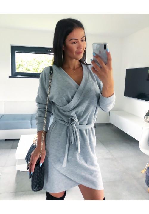 Světle šedé svetrové šaty Helena