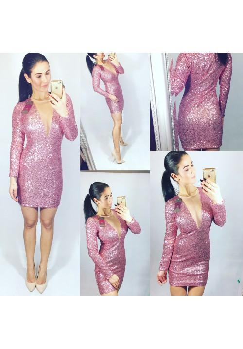 Třpytivé růžové šaty dlouhý rukáv