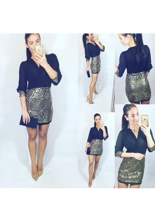 Zlato černé krásné šaty