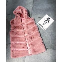 Růžová luxusní vesta s kapucí