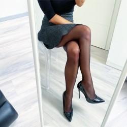 Hladké černé punčochové kalhoty 20 den S/M