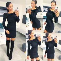 Černé šaty s pravým peřím