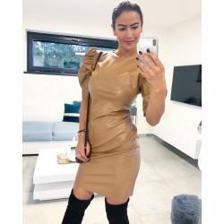 Krémové koženkové šaty