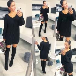Černé teplé šaty Bony
