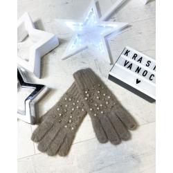 Hnědé rukavičky s perličkami