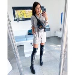 Krémovo -šedé košilové šaty s páskem XS/S