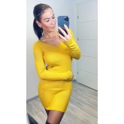 Hořčicové šaty Cayen
