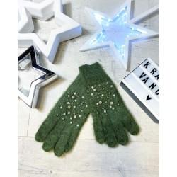 Khaki rukavice s perličkami