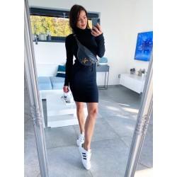 Černé úpletové luxusní šaty S/M