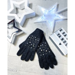 Černé rukavice s perličkami