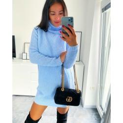 Svetrové šaty Samuel barva baby blue